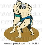 Vector Clip Art of Retro Sumo Wrestling Match 3 by Patrimonio