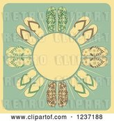 Vector Clip Art of Retro Sun with Rays and Flip Flops by Elaineitalia