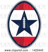 Vector Clip Art of Retro Super Bowl 51 Football Design with a Star by Patrimonio