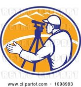 Vector Clip Art of Retro Surveyor Engineer Using Theodolite Total Station Equipment over an Orange Oval by Patrimonio