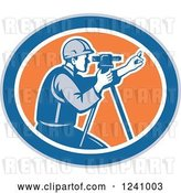 Vector Clip Art of Retro Surveyor in an Oval by Patrimonio