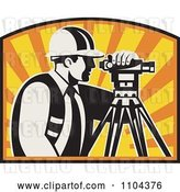 Vector Clip Art of Retro Surveyor Using a Theodolite Against a Sunset by Patrimonio
