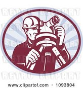 Vector Clip Art of Retro Surveyor Using a Theodolite over Gray Rays by Patrimonio