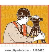 Vector Clip Art of Retro Surveyor Using a Theodolite over Orange by Patrimonio