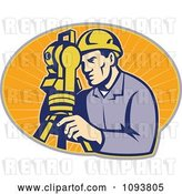 Vector Clip Art of Retro Surveyor Using a Theodolite over Orange Rays by Patrimonio
