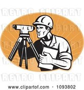 Vector Clip Art of Retro Surveyor Using a Theodolite over Pastel Orange Rays by Patrimonio