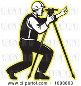 Vector Clip Art of Retro Surveyor Using a Theodolite with a Yellow Outline by Patrimonio