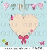 Vector Clip Art of Retro Suspended Heart with Buttons and Buntings over Blue by Elaineitalia