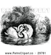 Vector Clip Art of Retro Swan Couple and People by a Pond by Prawny Vintage