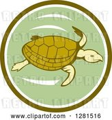 Vector Clip Art of Retro Swimming Sea Turtle in a Green and White Circle by Patrimonio