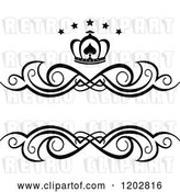Vector Clip Art of Retro Swirl Frame with a Crown and Luxury Stars 3 by Vector Tradition SM