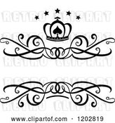 Vector Clip Art of Retro Swirl Frame with a Crown and Luxury Stars by Vector Tradition SM