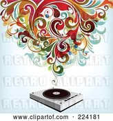 Vector Clip Art of Retro Swirls over a Record Player by OnFocusMedia
