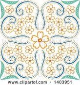Vector Clip Art of Retro Swirly Floral Design by Cherie Reve