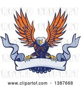 Vector Clip Art of Retro Swooping Orange and Blue Bald Eagle Grasping a Blank Ribbon Banner by Patrimonio