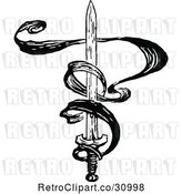 Vector Clip Art of Retro Sword and Ribbon by Prawny Vintage