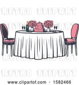 Vector Clip Art of Retro Table with Flowers and a Wedding Cake by Vector Tradition SM
