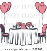 Vector Clip Art of Retro Table with Flowers, Balloons and a Wedding Cake by Vector Tradition SM