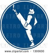 Vector Clip Art of Retro Taekwondo Fighter Kicking in a Blue and White Circle by Patrimonio