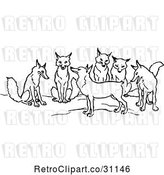 Vector Clip Art of Retro Tailless Fox and Group by Prawny Vintage