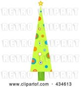 Vector Clip Art of Retro Tall Christmas Tree with Circles by BNP Design Studio