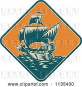 Vector Clip Art of Retro Tall Galleon Ship at Sea in an Orange Diamond by Patrimonio