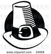 Vector Clip Art of Retro Tall Pilgrim Hat with a Buckle Around the Base, in Front of a Black Circle by Andy Nortnik