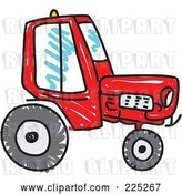 Vector Clip Art of Retro Tall Red Sketched Tractor by Prawny