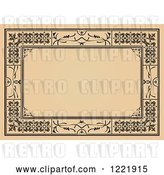 Vector Clip Art of Retro Tan and Black Border Frame by Leonid