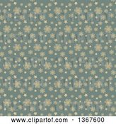 Vector Clip Art of Retro Tan and Blue Snowflake Pattern Background by KJ Pargeter