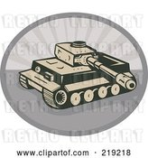 Vector Clip Art of Retro Tan and Gray Military Tank Logo by Patrimonio