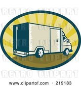 Vector Clip Art of Retro Tan and Green Delivery Van Logo by Patrimonio