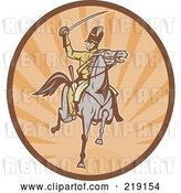 Vector Clip Art of Retro Tan and Orange Cavalry Logo by Patrimonio