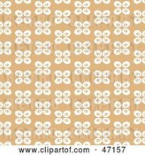 Vector Clip Art of Retro Tan Background of White Abstract Butterflies by Prawny