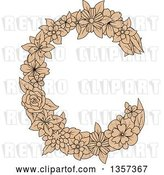 Vector Clip Art of Retro Tan Floral Letter C Design by Vector Tradition SM
