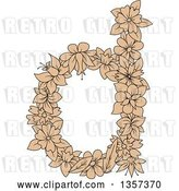 Vector Clip Art of Retro Tan Floral Letter D Design by Vector Tradition SM