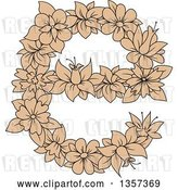 Vector Clip Art of Retro Tan Floral Lowercase Letter E Design by Vector Tradition SM