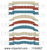 Vector Clip Art of Retro Tan Red and Blue Cloth Ribbon Banners by Vectorace