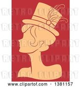 Vector Clip Art of Retro Tan Silhouetted Burlesque Lady Wearing a Hat over Red by BNP Design Studio