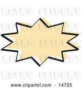 Vector Clip Art of Retro Tan Starburst with a Black Outline by Andy Nortnik