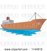 Vector Clip Art of Retro Tanker Ship by Patrimonio