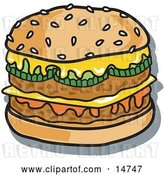 Vector Clip Art of Retro Tasty Double Cheeseburger with Two Meat Patties, Pickles, Ketchup and Melted Cheese on a Sesame Seed Bun by Andy Nortnik