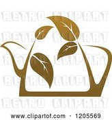 Vector Clip Art of Retro Tea Pot of Brown Tea or Coffee with Leaves by Vector Tradition SM