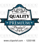 Vector Clip Art of Retro Teal and White Premium Quality Product Label by Vector Tradition SM