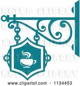Vector Clip Art of Retro Teal Cafe Shingle Sign by Vector Tradition SM