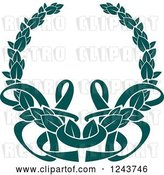 Vector Clip Art of Retro Teal Coat of Arms Wreath with Ribbons 4 by Vector Tradition SM