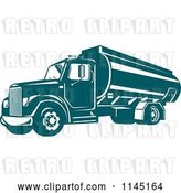 Vector Clip Art of Retro Teal Oil Big Rig Truck by Patrimonio