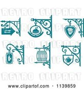 Vector Clip Art of Retro Teal Pub Cafe Restaurant Shingle Signs 2 by Vector Tradition SM