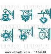 Vector Clip Art of Retro Teal Pub Cafe Restaurant Shingle Signs by Vector Tradition SM