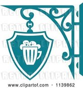 Vector Clip Art of Retro Teal Pub Shingle Sign 2 by Vector Tradition SM
